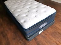 white and black mattress and black wooden bed frame Edmonton, T5A 4H3