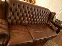 brown leather tufted 2-seat sofa Vancouver, V6E 1A7
