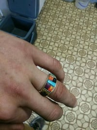 Costa Rican fire opal turquoise Sterling ring null