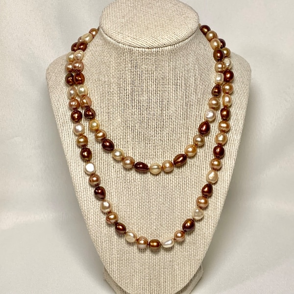 South Sea Chocolate & Golden Baroque Ringed Pearl Necklace