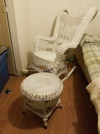 Heavy wicker rocking chair and footstool Detroit, 48235