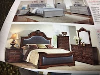 brown wooden bed frame with white mattress Toronto, M9V 4J9