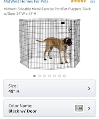 "New, unused... Foldable Metal Exercise Pen/Pet Playpen, Black 24""W x 48""H  St Thomas, N5R 6M6"