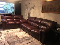 brown leather 3-seat sofa and loveseat Торонто, M9V 4K6