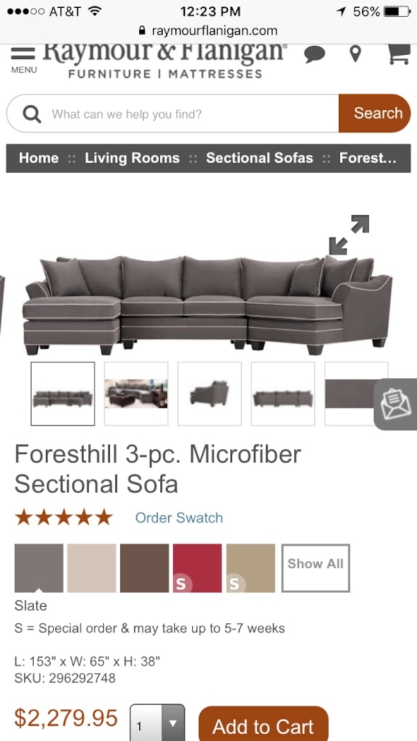 Used Foresthill 3 Pc Microfiber Sectional Sofa For Sale In Stamford