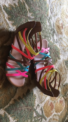 pair of women's multicolored strappy sandals