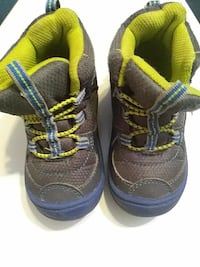 toddler's blue-green-and-brown shoes