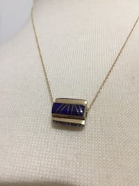 "Authentic 14k Gold Lapis Barrel Slide on an 18"" 14K Gold Chain.  Slide Measures 3/8"" x 1/2"".   Excellent condition. Smoke free home.  $225 Biloxi, 39531"