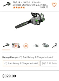 "Ego 14"" 56v Chainsaw Battery and Charger Like New in Excellent Conditi"