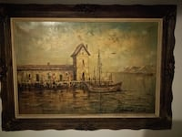 Large Antique oil on canvas painting TORONTO