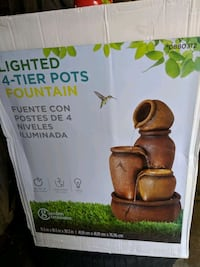 Lighted 4-tier pots fountain, NEW! - $50