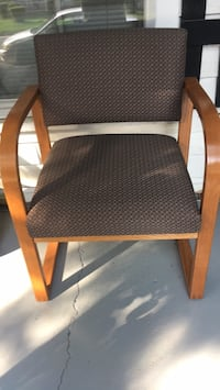brown wooden framed gray padded armchair Selma, 27576