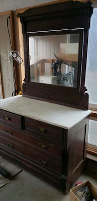 Antique Eastlake dresser with marble top and mirror