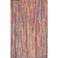 New 5ft by 8ft Bohemian Braided Cotton and Jute Rug Toronto