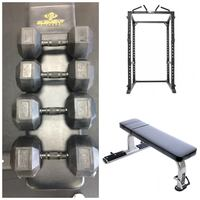 black weight bench with four 50 kg gray Element fixed weight hex-style dumbbells