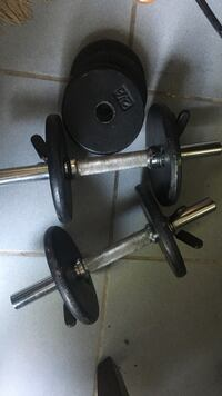black and gray barbell and dumbbells Livonia, 48152
