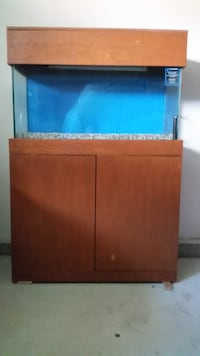 Brown wooden framed 33 gallon cabinet fish tank