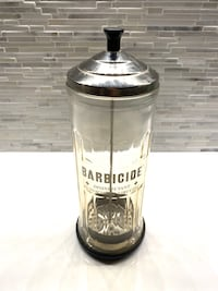 Vintage King Research Barbicide Tall Disinfectant Jar!