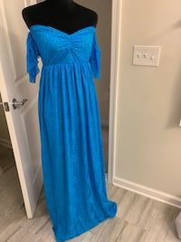 blue v-neck long sleeve dress