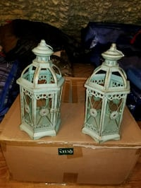 two white and green ceramic house miniatures Monroe, 10950