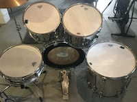 Vintage Ludwig Super Classic 70's drum kit 5 pieces shell kit 1971 Silver MONTREAL