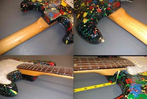 Signed Splatter Paint Aria Pro II STG Electric Guitar Stone Roses