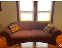 Purple fabric 3-seat sofa, loveseat and arm chair. Woodland Park, 07424