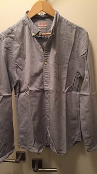 Mens lightly used light blue allsaints spitalfields cotton button down shirt medium