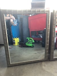 """Mirror, large mirrors set if 2. Silver """"bamboo"""" style frame."""