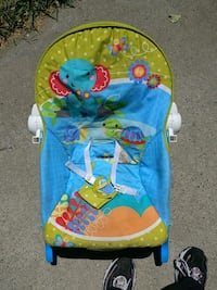 baby's blue and green Fisher-Price bouncer Merced, 95340