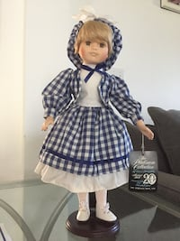 Porcelain doll in blue and white checkered dress Port Saint Lucie, 34984