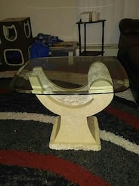 Small stone coffee table w glass top