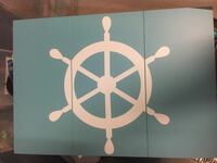 Blue and white ship's wheel 3-panel wall decor