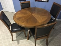 """48"""" round table with 6 leather pad chairs  York, 17408"""