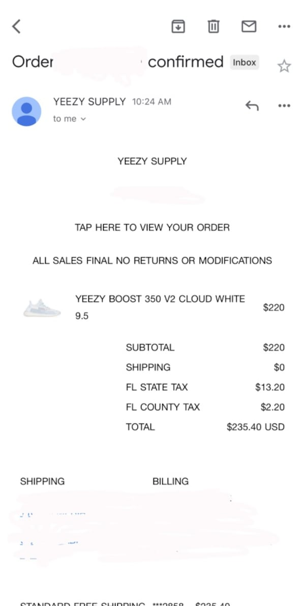 Yeezy cloud white size 9.5 1