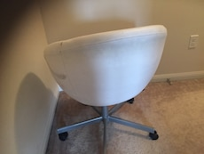IKEA White leather rolling chair - needs reupholstery