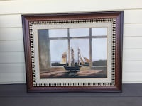 Brown wooden frame painting of scale model galleon ship Islip, 11795