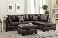 Brand New Chocolate Sectional Sofa with Ottoman  Austin