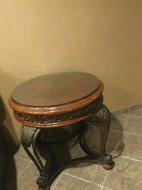brown wooden frame glass top side table Oxnard, 93033