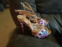 pair of gray-pink-and-blue floral peep toe heels