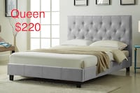 Brand new queen grey fabric button tufted platform bed frame   多伦多, M1S 4A9