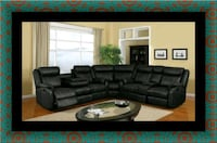 C shape sectional black bonded leather East Riverdale, 20737