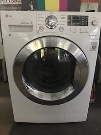 white LG front-load washing machine