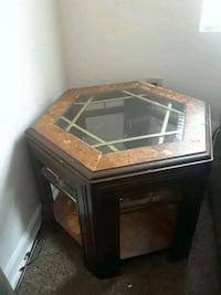 brown wooden framed glass top coffee table Washington, 20019