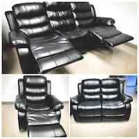 Black leather recliner sofa collage Calgary, T2A 5T3