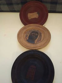 3 Folk Art Wooden Saucers Hagerstown, 21740