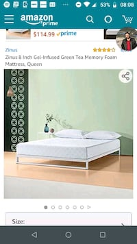 Zinus Gel-Infused 8-inch memory foam Queen mattres McLean, 22102