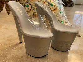 New Pleaser White Sexy Heels Size 8
