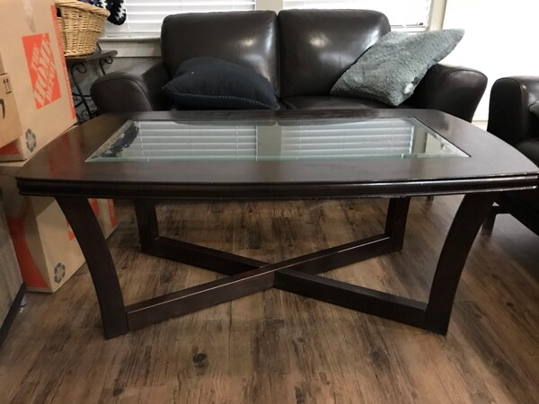 Dark Brown Gl Coffee Table Great Condition