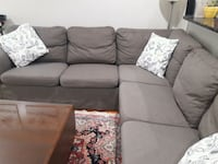gray fabric sectional sofa with throw pillows Sterling, 20164